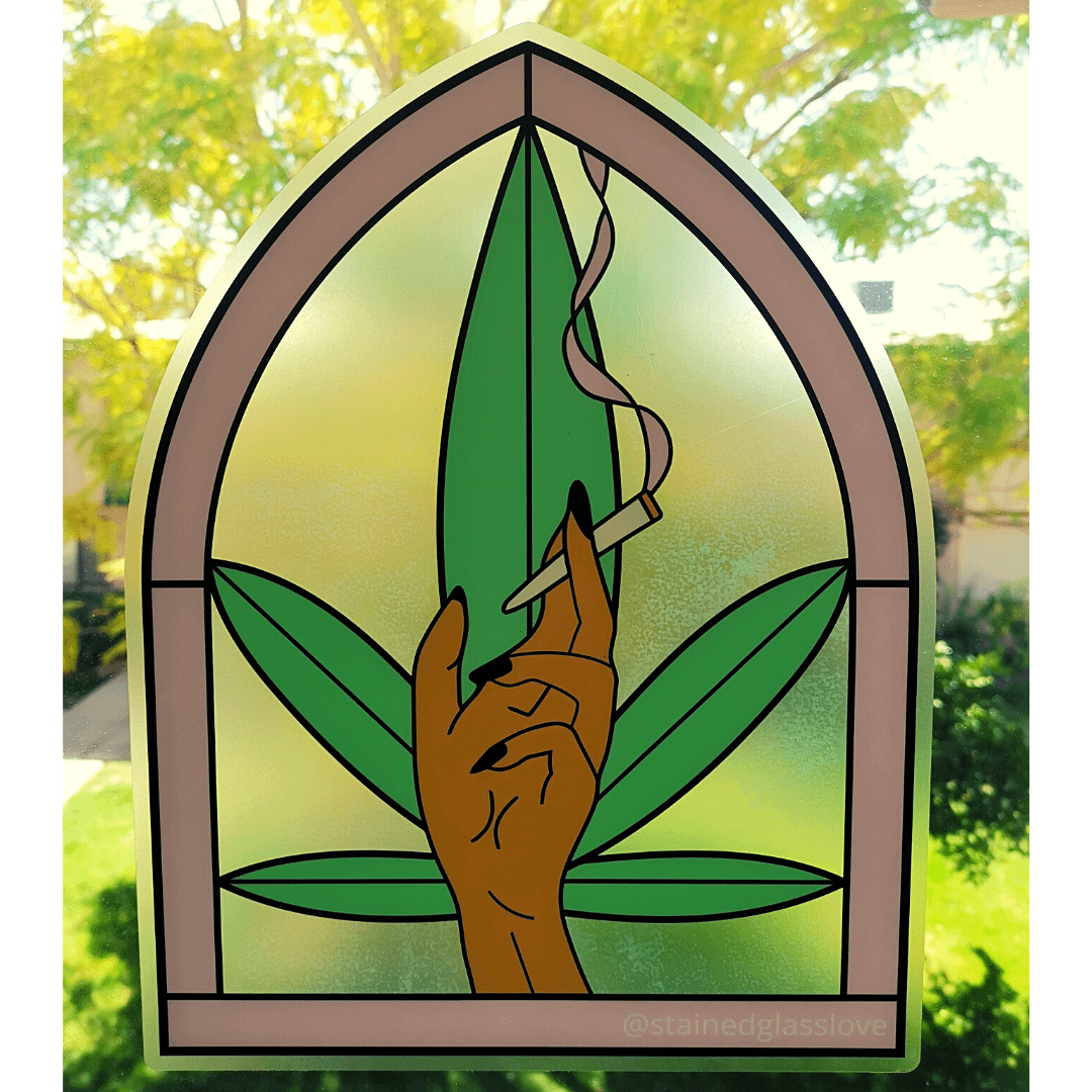 LARGE (10×13) Smoking Hand Window Sticker