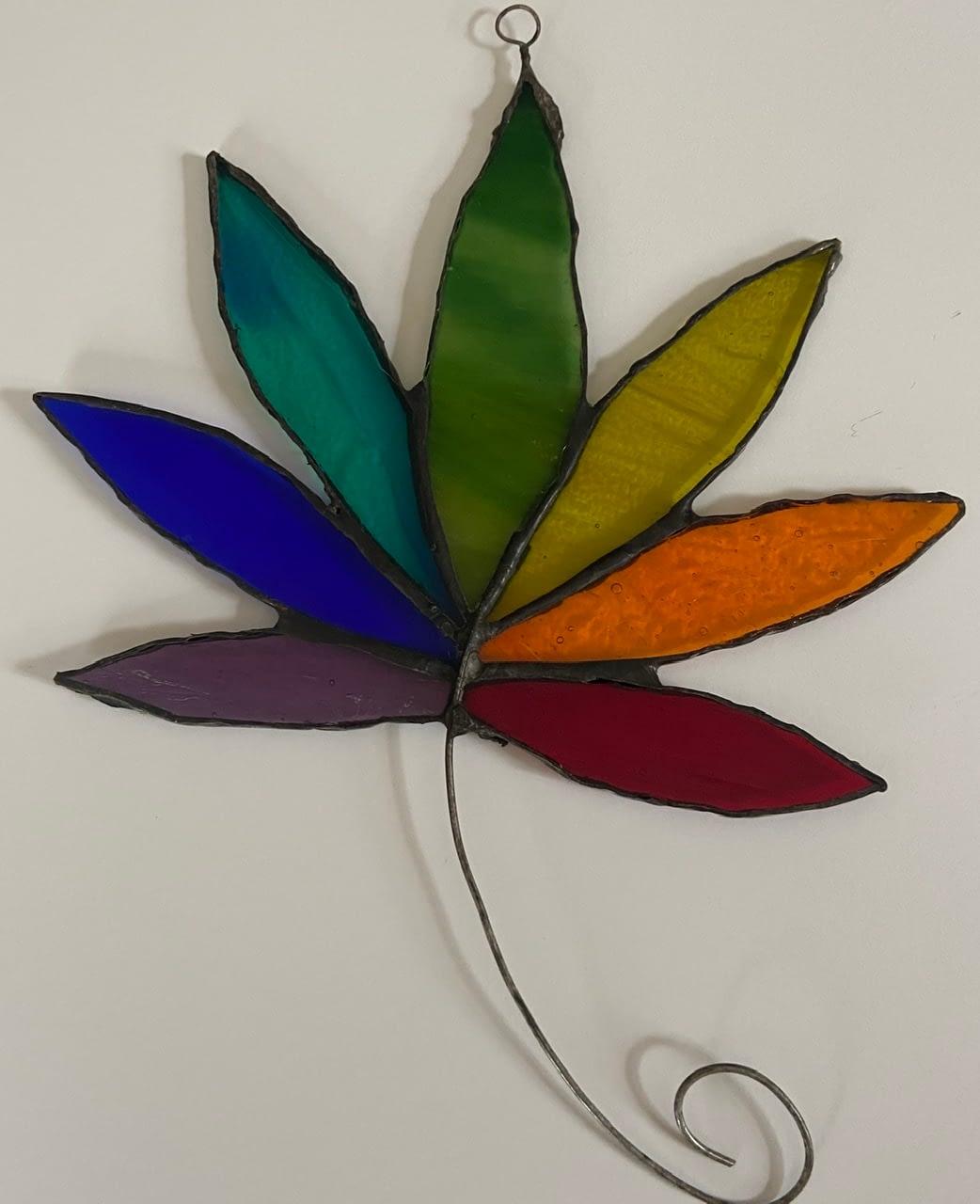 Rainbow cannabis leaf free shipping