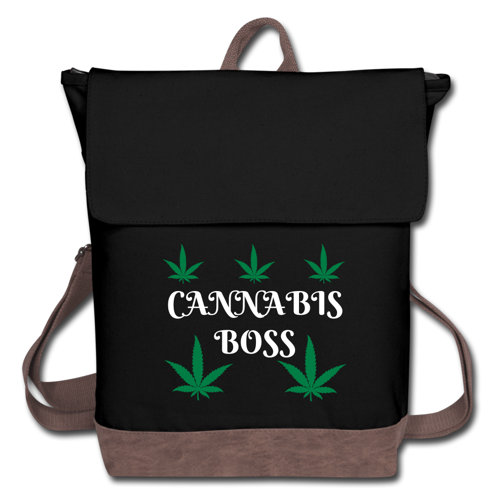 Cannabis Boss Canvas Backpack-Black & Brown