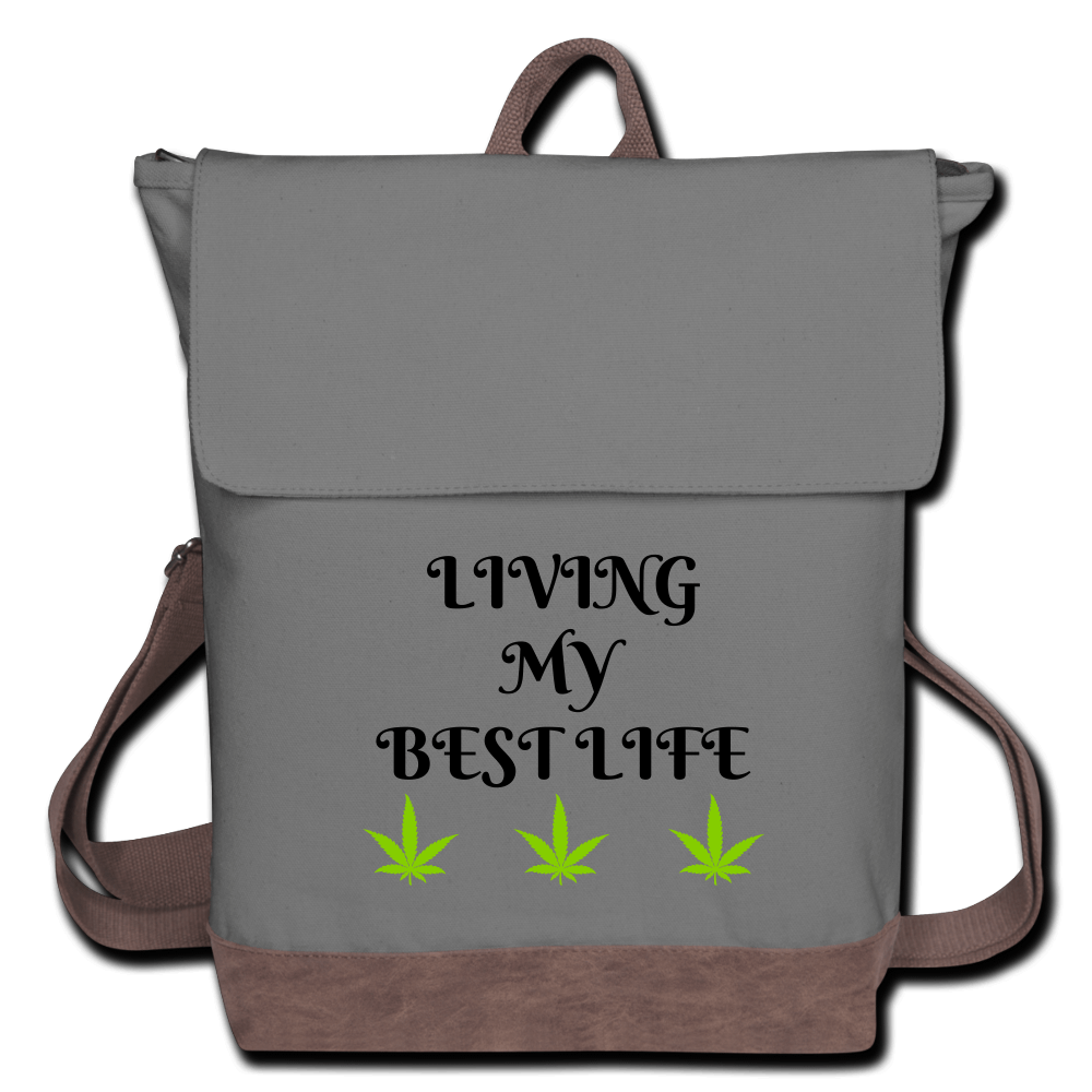 Living My Best Life Cannabis Canvas Backpack-Gray/Brown