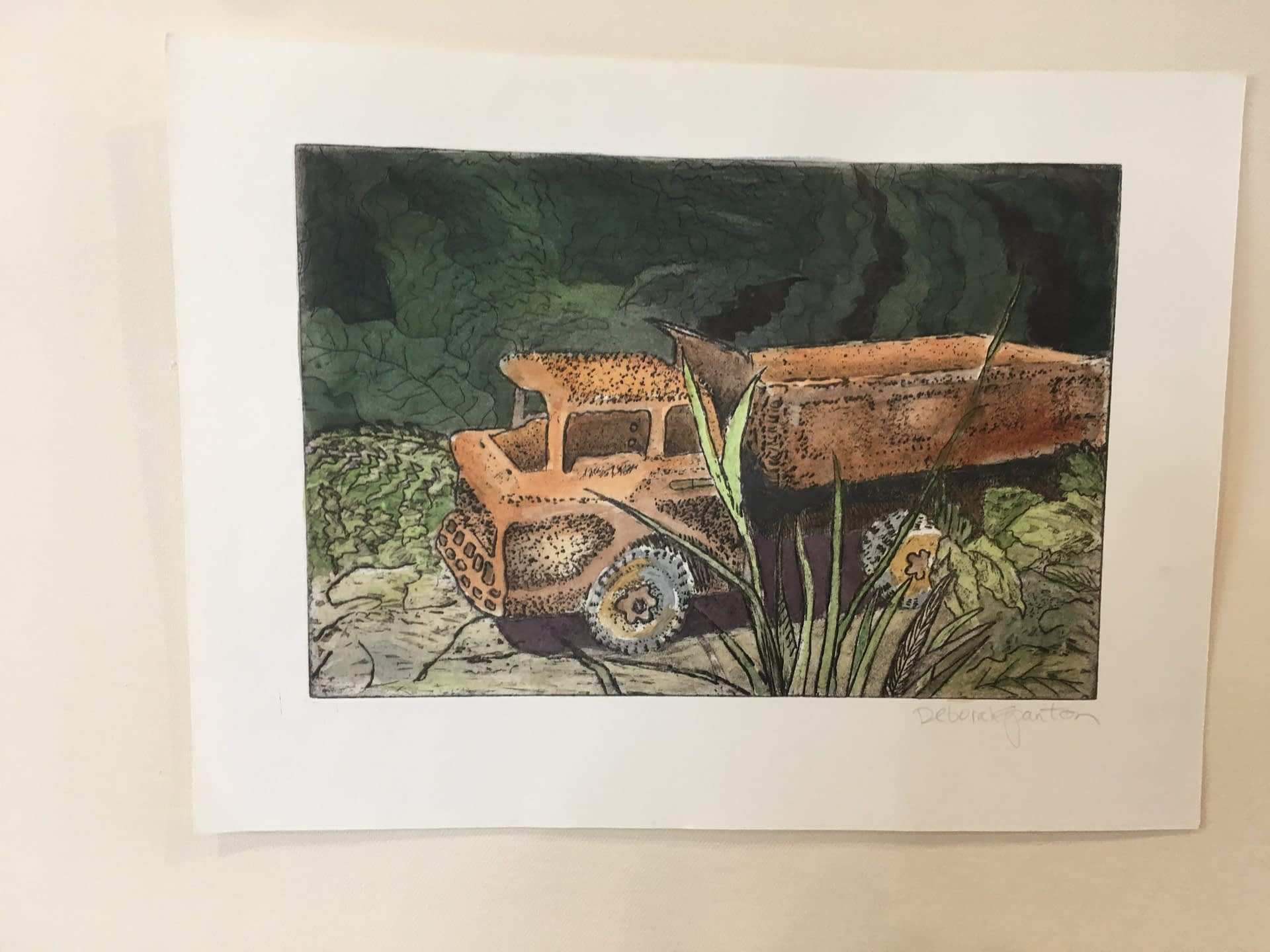 Hand Colored Etching: Truck