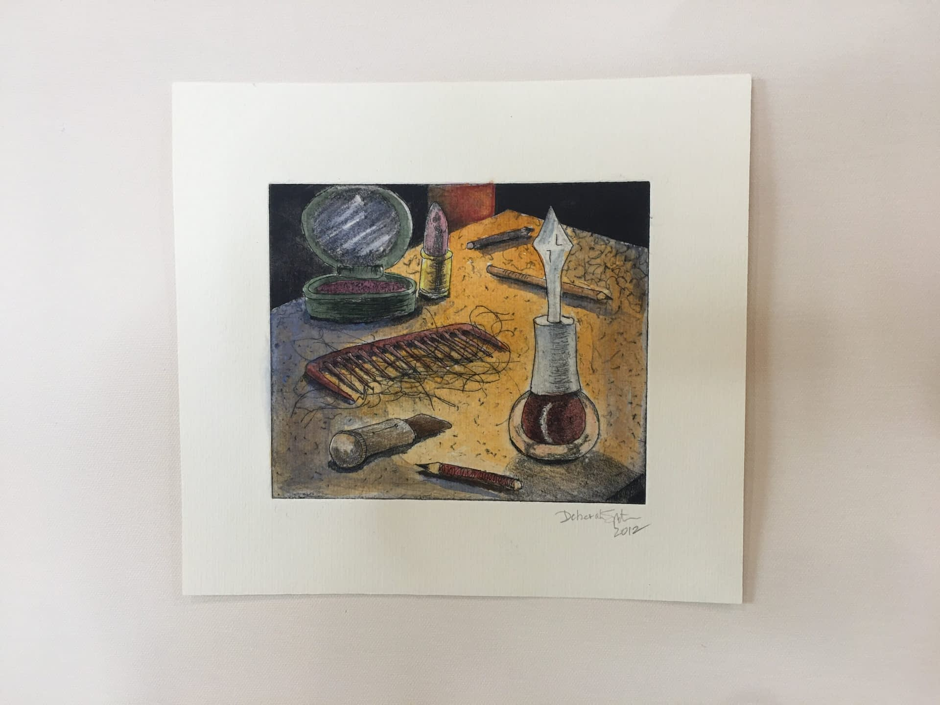 Hand Colored Etching: Vanity