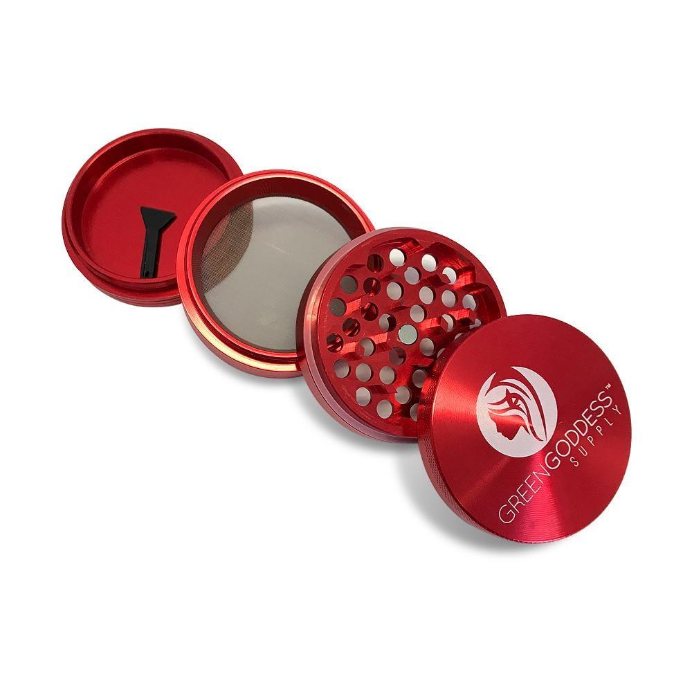 """2.5"""" 4-Piece Aluminum Grinder - Red"""