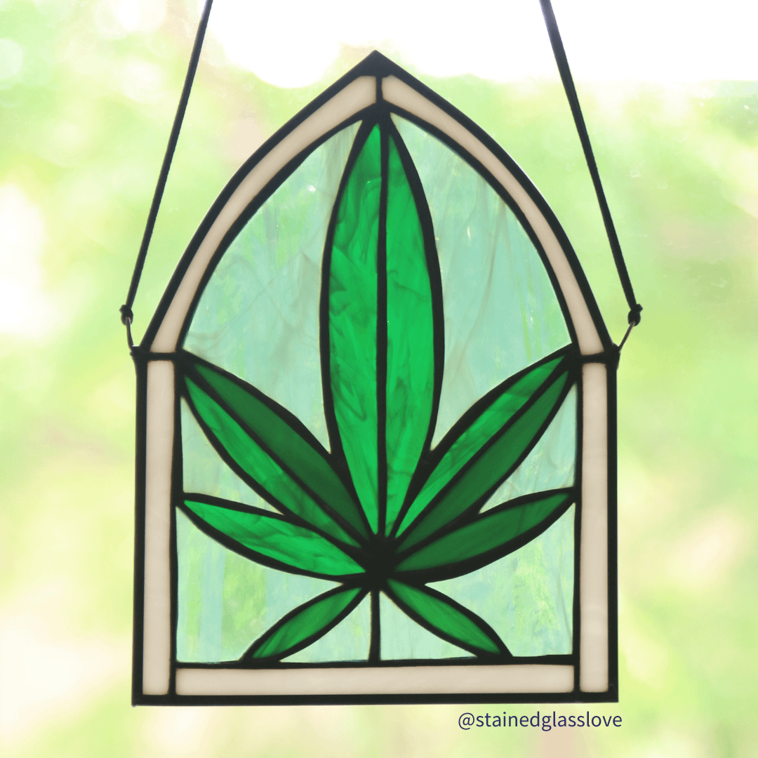 Custom Cannabis Leaf Stained Glass Piece (Small)