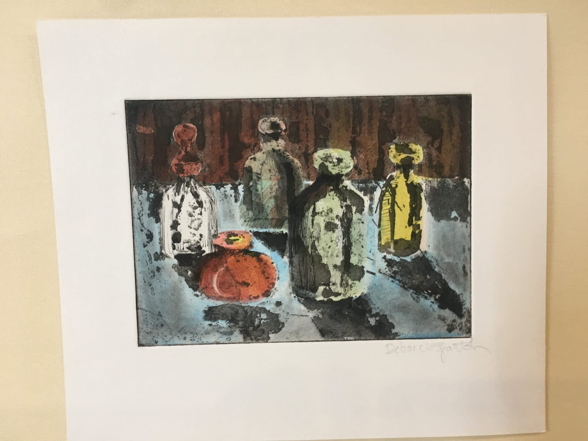 Hand Colored Etching: Bottles No. 2
