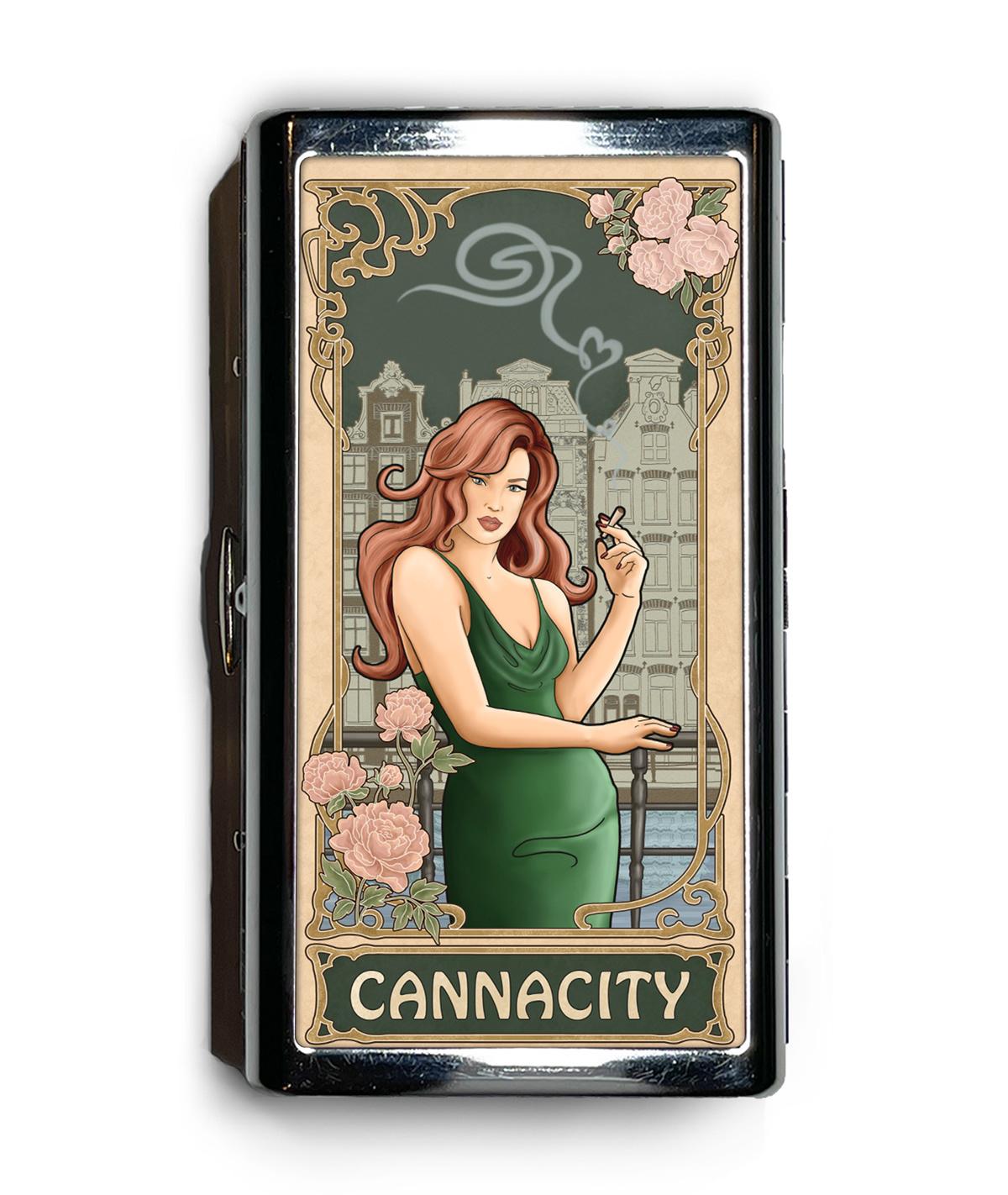 Amsterdam in Green: Cannacity® Business Card/Preroll Case