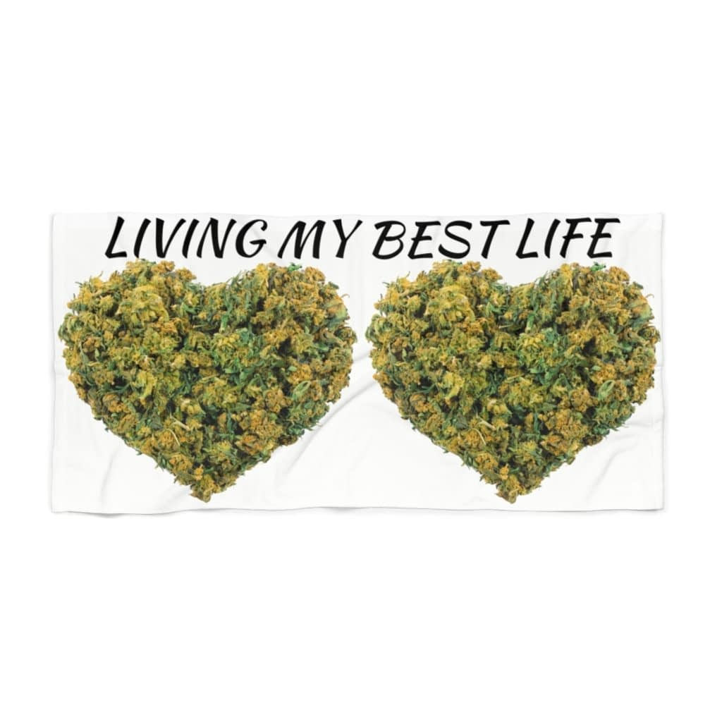 Living My Best Life Cannabis Beach Towel- 2 Color Options
