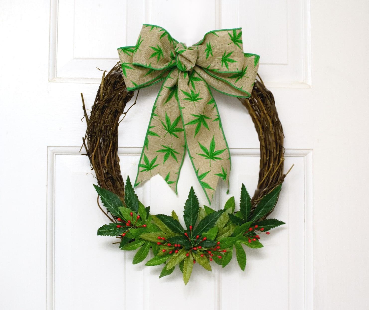 Cannabis Grapevine Wreath – FREE shipping