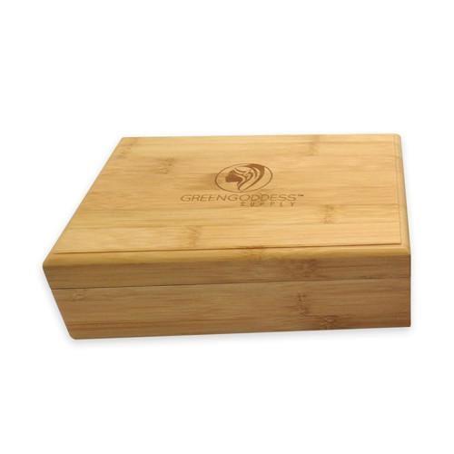 Bamboo Storage Box w/ Rolling Tray Lid