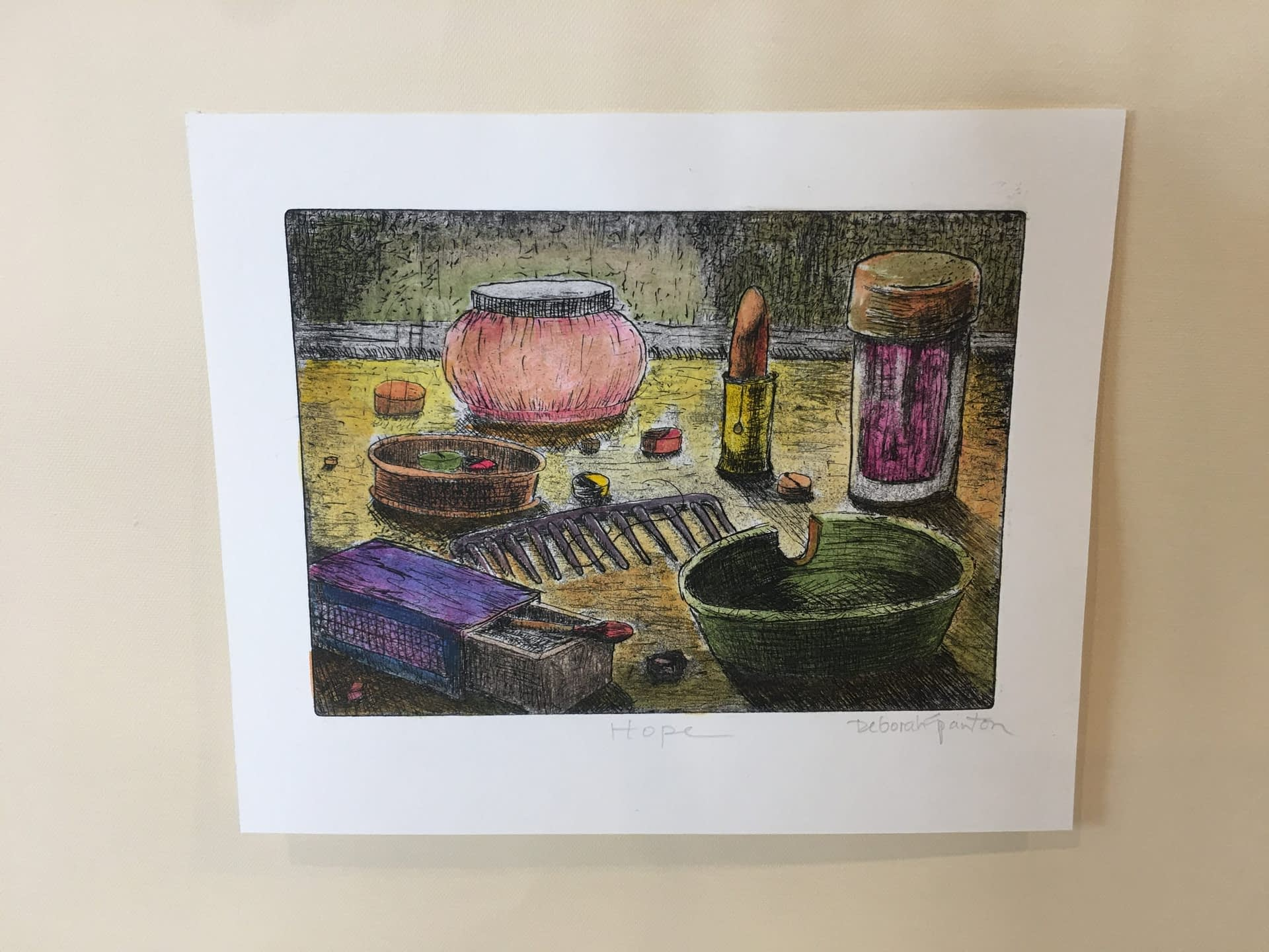 Hand Colored Etching: Hope No. 2
