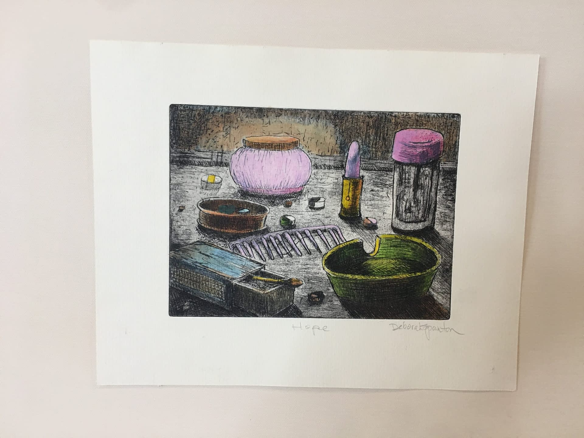Hand Colored Etching: Hope No. 1
