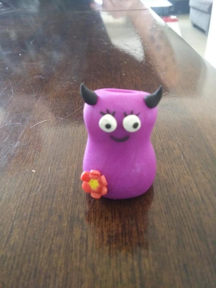 "Purple ""flowergirl"" monster snuffer"