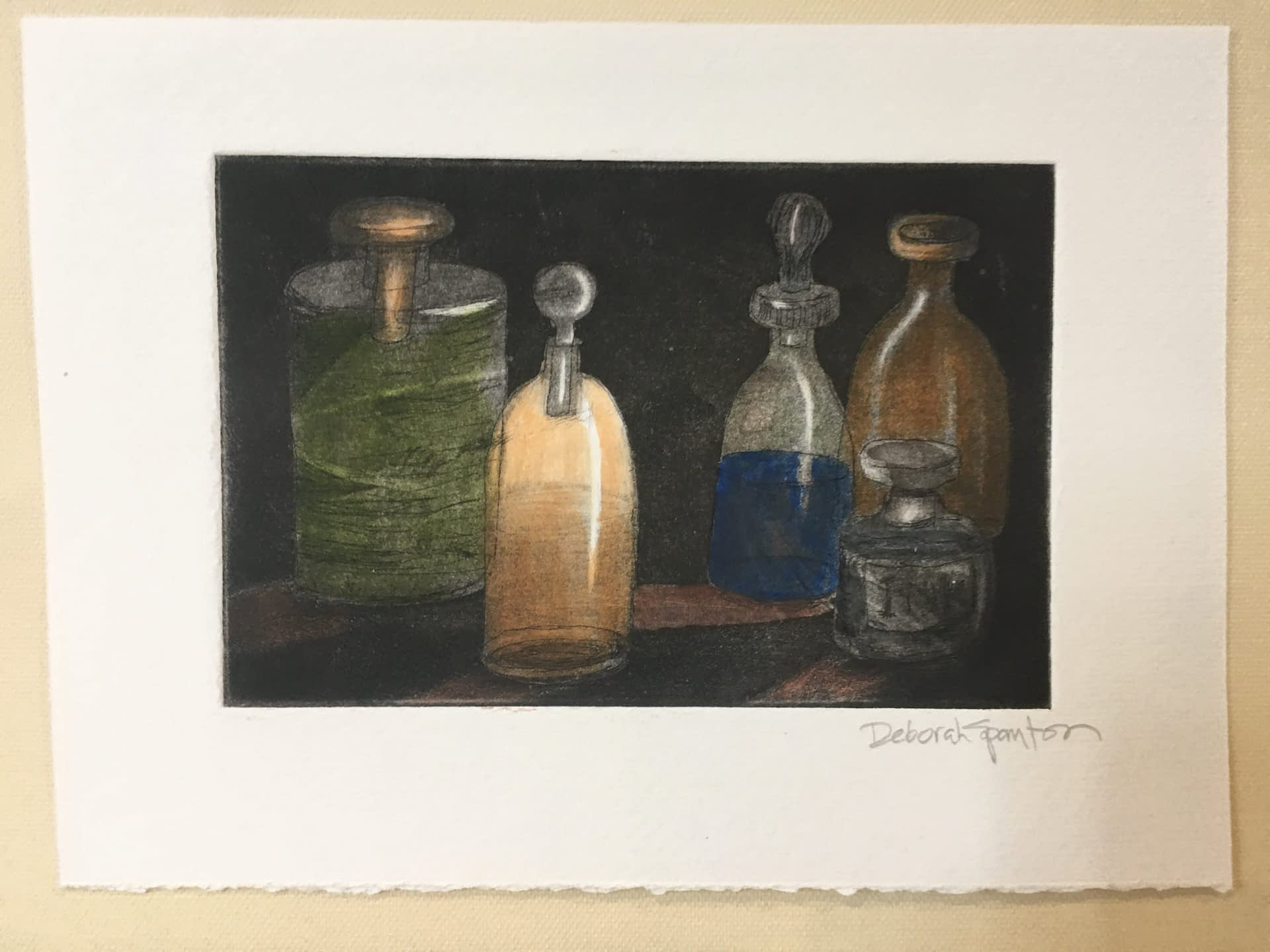 Hand Colored Etching: Bottles No. 1