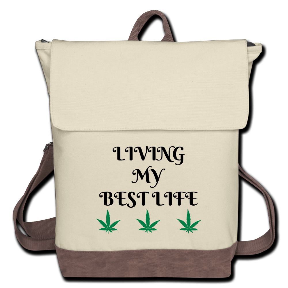 Living My Best Life Cannabis Canvas Backpack-Ivory/Brown