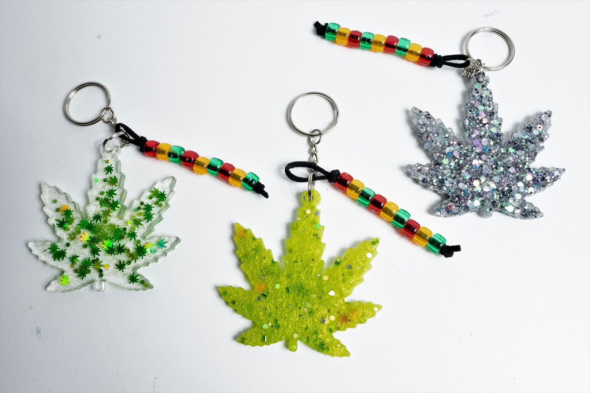 Cannabis Leaf Keychains