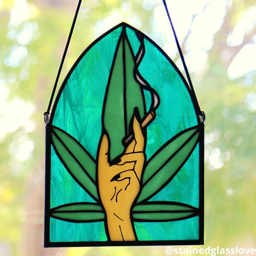 Custom Stained Glass Smoking Hand Piece (Medium)